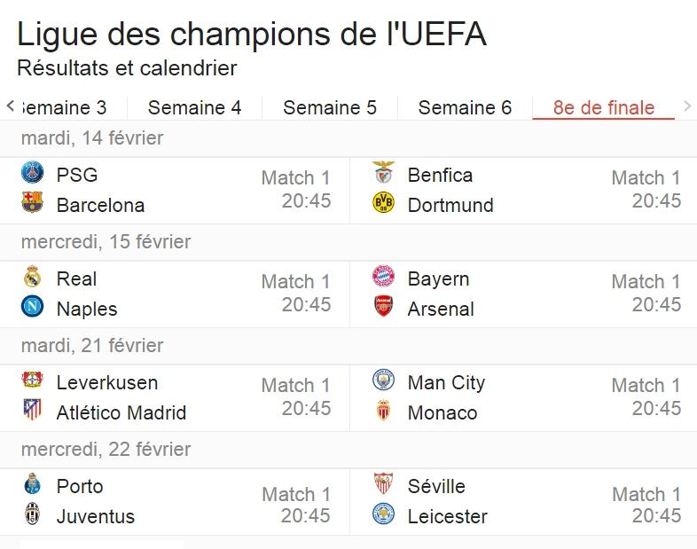 Quels sont vos pronos Ligue des Champions pour les 8ème de finale ?